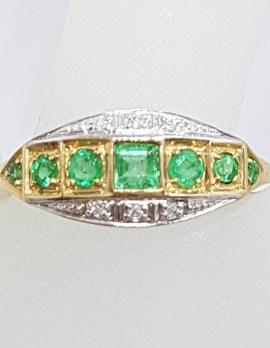 9ct Yellow Gold Natural Emerald & Diamond Bridge Set / Eternity Art Deco Style Ring