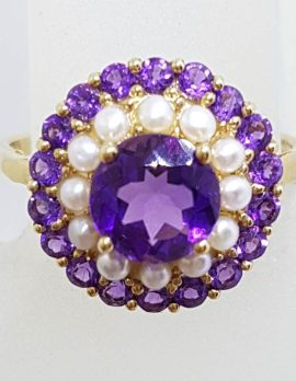 9ct Yellow Gold Amethyst and Seedpearl Round Cluster Ring
