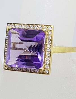 9ct Yellow Gold Square Ring Large Amethyst surrounded by Diamonds