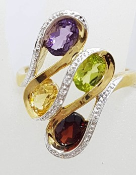 9ct Gold Amethyst, Peridot, Citrine and Garnet with Diamonds Ring - Large Swirl