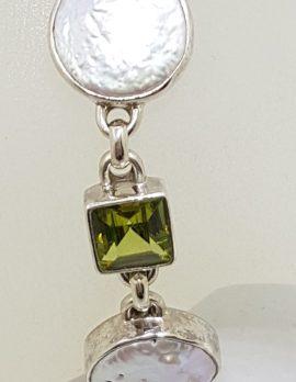 Sterling Silver Peridot & Button Pearl Bracelet