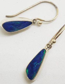 Sterling Silver Blue Opal Drop Earrings