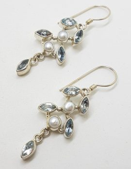 Sterling Silver Blue Topaz and Pearl Long Leaf Design Drop Earrings