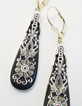 Sterling Silver Marcasite, Onyx and Garnet Long Ornate Drop Earrings