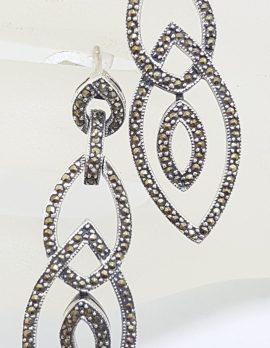 Sterling Silver Marcasite Very Long Marquis Diamond Shape Drop Earrings