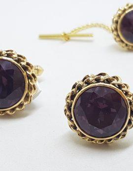 14ct Yellow Gold Large Round Purple Stone Cufflinks & Stud Set - Vintage / Antique
