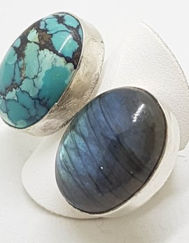 Sterling Silver Labradorite and Turquoise Large Ring