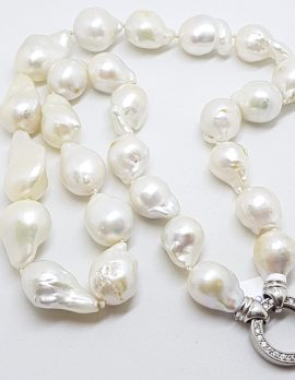 Sterling Silver Baroque Pearl Necklace with Cubic Zirconia Clasp