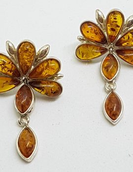 Sterling Silver Natural Amber Large Cluster with Drop Stud Earrings