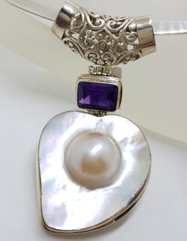 Sterling Silver Large Mabe Pearl and Amethyst Ornate Filigree Pendant on Silver Choker / Chain / Necklace