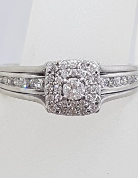 18ct White Gold Diamond Channel and Claw Set Square Cluster Engagement Ring
