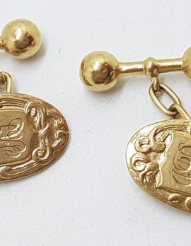 9ct Yellow Gold Initialled Ornate Oval Shape Cufflinks - Vintage / Antique