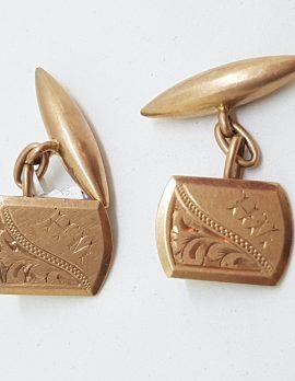 "9ct Rose Gold Initialled ""W.H."" Ornate Rectangular Shape Cufflinks - Vintage / Antique"