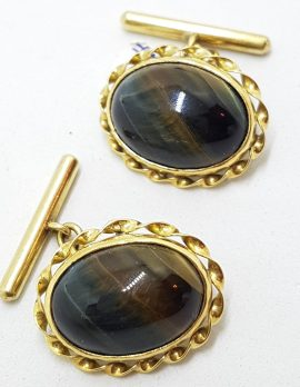 18ct Yellow Gold Ornate Large Oval Blue Tiger Iron Cufflinks - Vintage / Antique