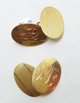 """9ct Yellow Gold Initialled """"H.F.."""" Oval Cufflinks - Vintage / Antique"""