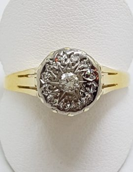 18ct Yellow Gold High Set Round Diamond Cluster Ring