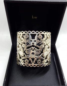 Sterling Silver Large Filigree Karen Walker Jewellery - New Zealand - Cuff Bangle with Ornate Cat, Bees, Floral, Skull, Etc Design - NZ Designer