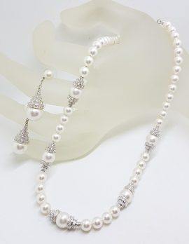 Silver Plated Swarovski Crystal with Faux Pearl Necklace and Earring Set