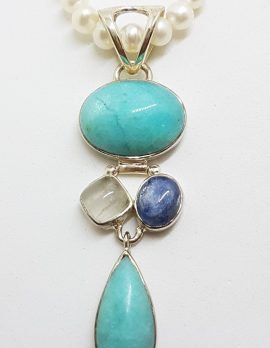 Sterling Silver Long Amazonite, Moonstone and Kyanite Pendant on Pearl Necklace / Chain