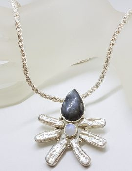 Sterling Silver Labradorite, Moonstone and Blister Pearl Pendant on Thick Silver Chain