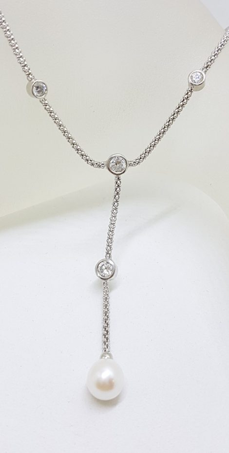 Sterling Silver Pearl and Cubic Zirconia Drop Chain / Necklace