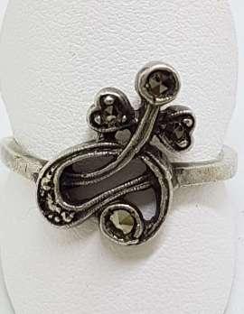 Sterling Silver Vintage Marcasite Ornate Twist Ring