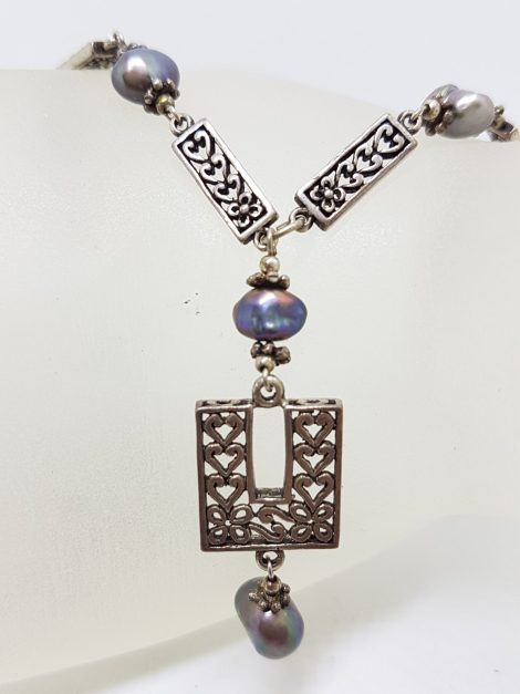 Sterling Silver Ornate Filigree Long Drop Black Pearl Chain / Necklace