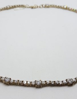Sterling Silver Cubic Zirconia Collier Necklace / Chain