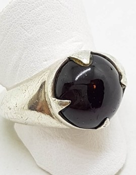 Sterling Silver Round Cabochon Garnet Ring - Ladies / Gents