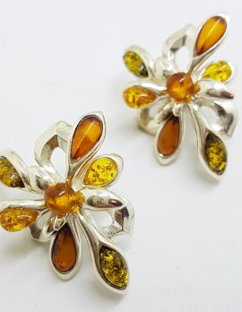 Sterling Silver Multi-Colour Natural Baltic Amber Large Cluster Stud Earrings