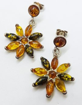 Sterling Silver Multi-Colour Natural Amber Long Flower Cluster Drop Earrings *SOLD*