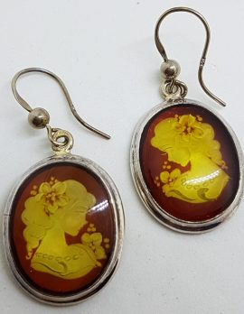 Sterling Silver Natural Baltic Amber Large Oval Carved Cameo Drop Earrings