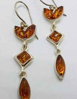 Sterling Silver Natural Baltic Amber Long Drop Earrings