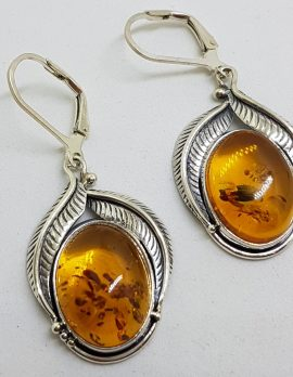 Sterling Silver Large Natural Baltic Amber Oval Leaf Design Drop Earrings