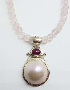 Sterling Silver Mabe Pearl & Pink Tourmaline Pendant on Rose Quartz Bead Necklace Chain