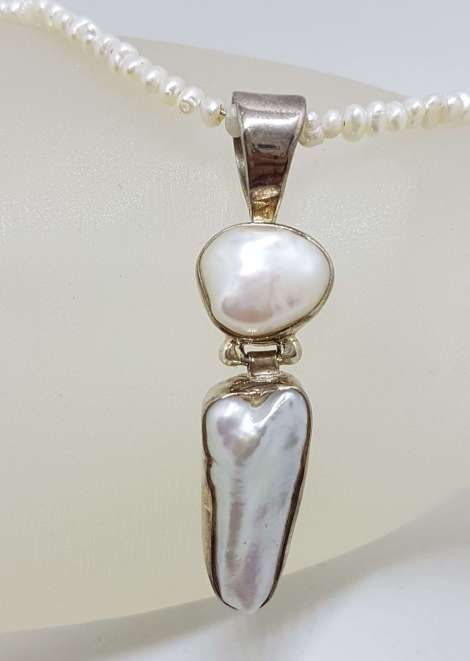 Sterling Silver Blister Pearl Pendant on Pearl Chain / Necklace