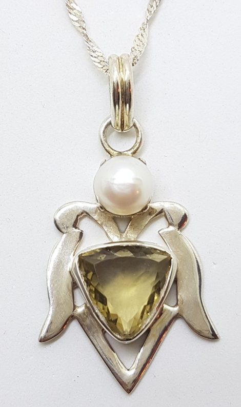Sterling Silver Citrine and Pearl Ornate Large Pendant on Silver Chain