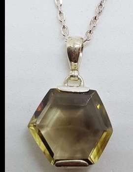 Sterling Silver Hexagonal Smokey Quartz Pendant on Silver Chain