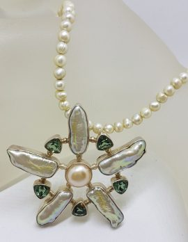 Sterling Silver Large Green Quartz and Blister Pearl Star / Flower Pendant on Pearl Chain Necklace