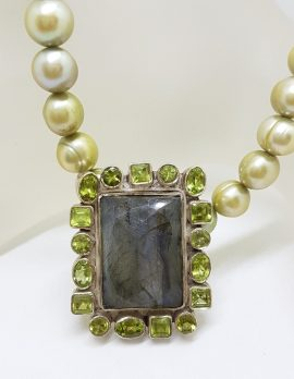 Sterling Silver Large Rectangular Labradorite surrounded by Peridot Pendant on Green Pearl Chain Necklace