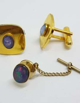 Vintage Costume Gold Plated Cufflinks and Tie Pin Set - Square - Opal