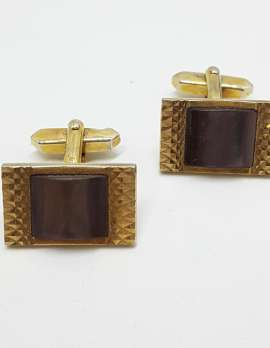 Vintage Costume Gold Plated Cufflinks - Rectangular - Mother of Pearl