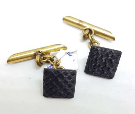 Vintage Costume Cufflinks – Square – Black