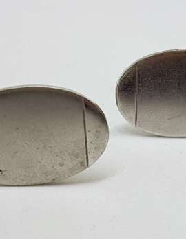 Vintage Costume Silver Plated Cufflinks - Oval