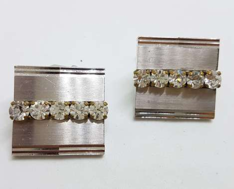 Vintage Costume Silver Plated Cufflinks - Large Square - Rhinestone