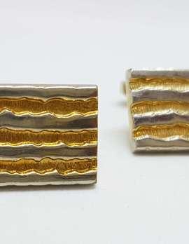 Vintage Costume Gold Plated Cufflinks - Rectangular - Line Design