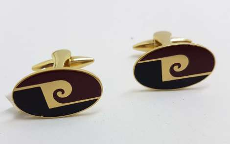 Vintage Costume Gold Plated Cufflinks - Oval - Black and Maroon P