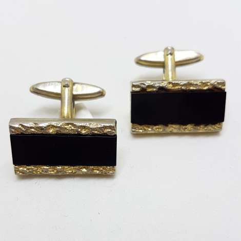 Vintage Costume Gold Plated Cufflinks - Rectangular - Black with Pattern