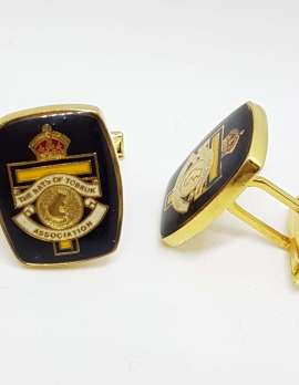 Vintage Costume Gold Plated Cufflinks – Rectangular - Black