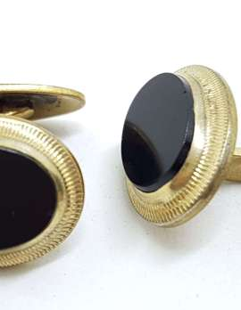 Vintage Costume Gold Plated Cufflinks - Oval - Black